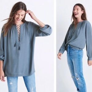 Madewell Blue-Gray Lace Up Peasant Style Blouse